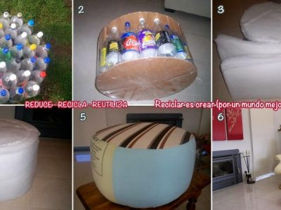 Making a Sofa Stool from Used Plastic Bottles