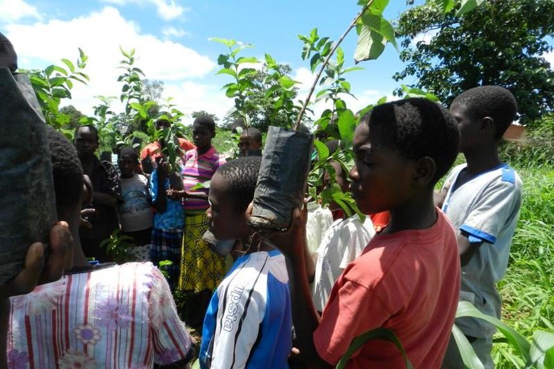 children planting ReScope