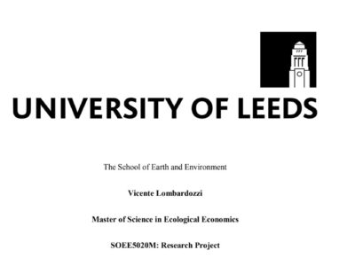 "Ecological Economics thesis: ""Livelihood options in ecological communities"""